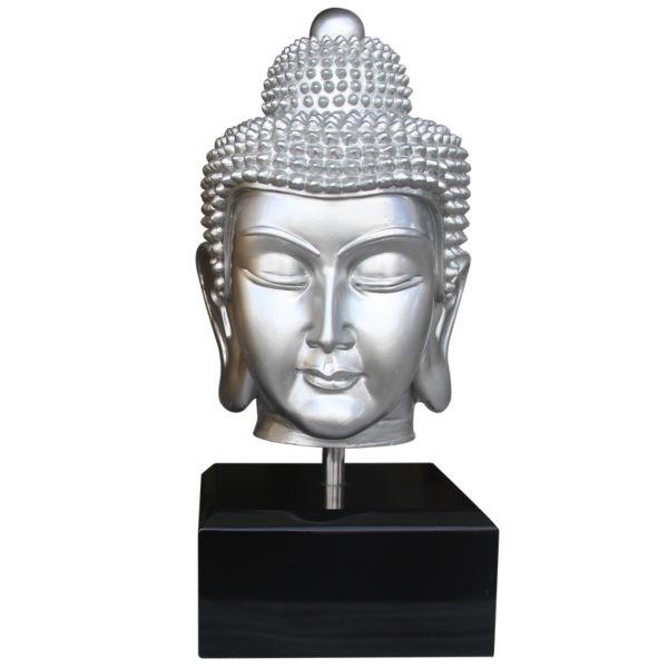 BUDDHA HEAD WITH BASE (SILVER)